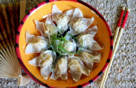 Image of Chicken & Vegetable Steamed Wontons Recipe