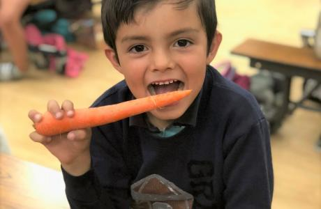 Kid with carrot