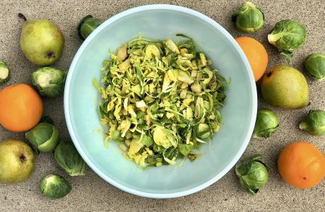 Brussels Sprout and Pear Salad with Citrus Mustard Dressing