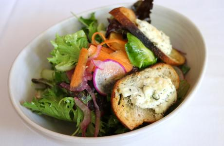 Stone's Throw Farm Mixed Baby Lettuces with Baked Goat Cheese Croutons and Herb Vinaigrette