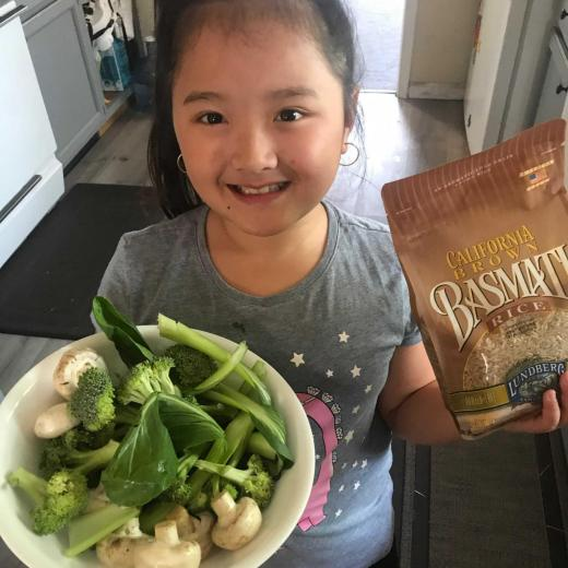 Kid with recipe ingredients